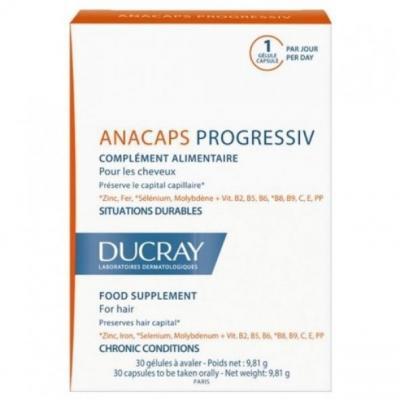 ANAKAPS Progressiv (АНАКАПС ПРОГРЕССИВ), Биологически активная добавка к пище для волос и кожи головы, 30 капс.