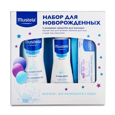 Mustela bebe Набор подарочный для новорожденных, Гель для купания 500мл+Молочко для тела Hydra Bebe 300мл+Крем под подгузник 50мл